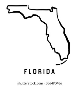 Florida state map outline - smooth simplified US state shape map vector.