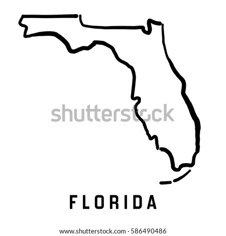 U S State Map Vector.Florida State Map Outline Smooth Simplified Stock Vector Royalty