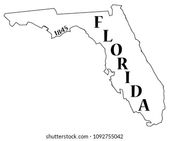 A Florida state outline with the date of statehood isolated on a white background
