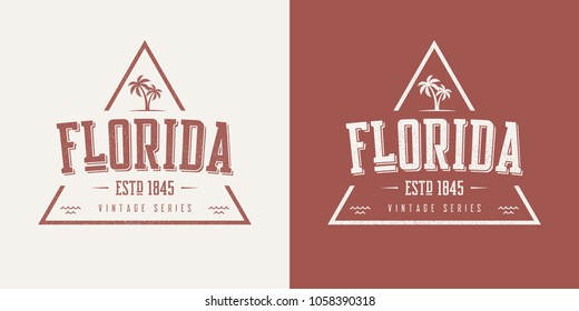 Florida state textured vintage vector t-shirt and apparel design, typography, print, logo, poster. Global swatches.