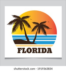 Florida sun sea beach  t-shirt graphic logo design.