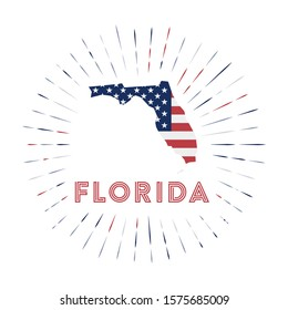 Florida sunburst badge. The us state sign with map of Florida with American flag. Colorful rays around the logo. Vector illustration.