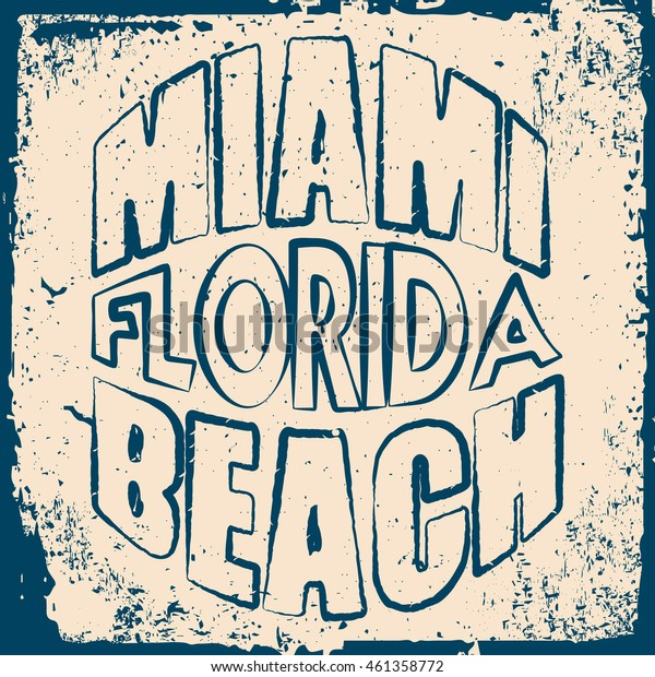 Florida surf typography, t-shirt graphics,  Stock Vector Illustration.