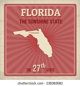 Florida travel vintage grunge poster, vector illustration