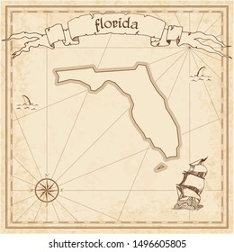 Florida treasure map. Ancient style map template. Old us state borders. Vector illustration.