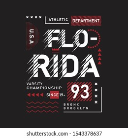 florida typography graphic vector design cool for t shirt printed, vector illustraion and stock vector