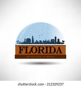 Florida, United States of America city skyline silhouette in snow globe. Vector design.