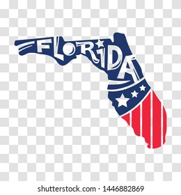 Florida, USA map with states, hand drawn lettering design for cutting sticker and laser cut, decoration and print