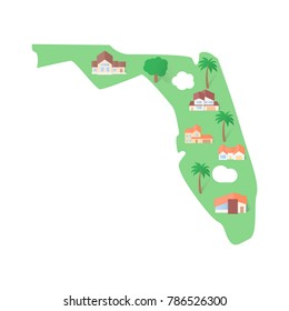 Florida USA states real estate landmarks flat
