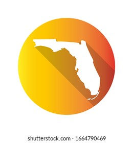 Florida, USA Symbol Map Icon Round. Flat Vector Art Design with Shadow. Gradient Color Banner.