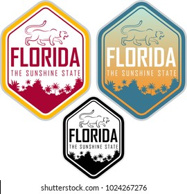 florida vector label with palms and puma