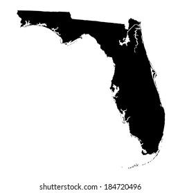 Florida vector map silhouette isolated on white background. High detailed vector illustration. United state of America country.