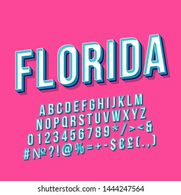 Florida vintage 3d vector lettering. Retro bold font, typeface. Pop art stylized text. Old school style letters, numbers, symbols, elements pack. 90s, 80s poster, banner. Bubblegum color background