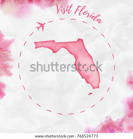 Watercolor Florida Map.Florida Watercolor Us State Map Red Stock Vector Royalty Free
