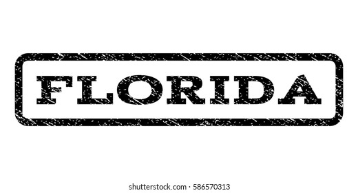 Florida watermark stamp. Text tag inside rounded rectangle frame with grunge design style. Rubber seal stamp with scratched texture. Vector black ink imprint on a white background.