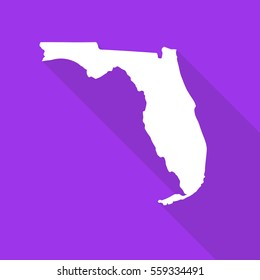 Florida white map,border flat simple style with long shadow on purple background