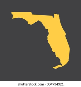 Florida yellow state border,map. Vector illustration EPS8.