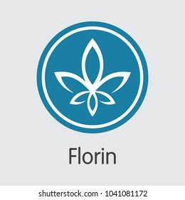 Florin Blockchain Based Secure Virtual Currency. Isolated on Grey FLO Vector Coin Pictogram.
