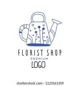 Florist shop premium logo, design element for floral boutique, florists hand drawn vector Illustration in blue color on a white background