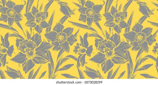 Floristic seamless pattern with closeup grey silhouettes of daffodil flowers in full bloom. Colors trend hand drawn vector graphic. Template for textile, wallpaper, bedding, floral design.