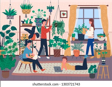 Florists and house full of indoor plants in pots vector. Greenery and vegetation, botany and floristry, watering can and scissors, room, men and women