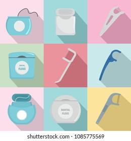 Floss dental brushing teeth icons set. Flat illustration of 9 floss dental brushing teeth vector icons for web