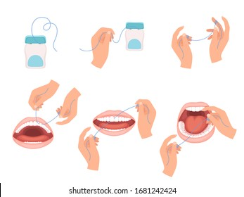 Floss dental. Steps how to use hygiene floss for teeth medical dentist vector infographic scheme
