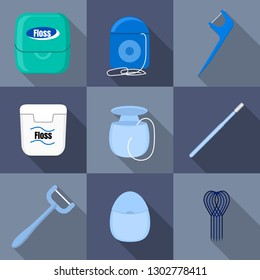 Floss icons set. Flat set of floss vector icons for web design