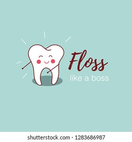 Floss like a boss. Vector illustration of dancing tooth for greeting card, t-shirt, print, stickers, posters design.