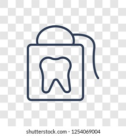 flossing icon. Trendy linear flossing logo concept on transparent background from Hygiene collection