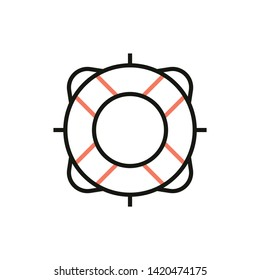 Flotation ring sign and Safety ring icon in vector line style with image of torus. Trendy lifesaver symbol for app buttons, website, application, print design. Lifetube badge for SOS graphical signal.
