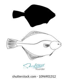 Flounder fish silhouette. Linear silhouette sea fish. Vector illustration. Icon badge flounder fish for design seafood packaging and market. Edible sea food