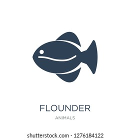 flounder icon vector on white background, flounder trendy filled icons from Animals  collection, flounder vector illustration