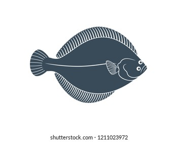 Flounder logo. Isolated flounder on white background