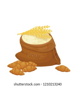 flour in bag, baking vector