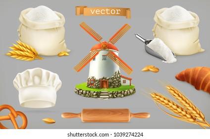 Flour. Mill, wheat, bread, chef hat. 3d vector icon set