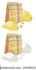 Flour in a paper bag, scattered flour, dough, vector