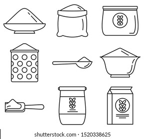 Flour product icons set. Outline set of flour product vector icons for web design isolated on white background