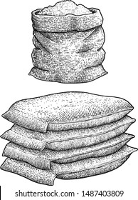 Flour sacks illustration, drawing, engraving, ink, line art, vector