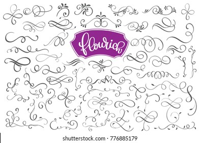 Flourich calligraphic design elements and page decoration for design greeting cards, tattoo, holiday invitations, photo overlays, t-shirt print, flyer, poster design, mug, pillow