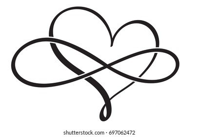 flourish calligraphy vintage heart infinity. Illustration vector hand drawn EPS 10