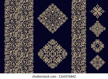 Flourish - paisley golden vector border ornament, decorative rosettes
