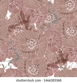 Flourish poppies pattern in line art style.Poppy flower line art.Botanical seamless vector texture.Colorful background blossoming bloomy vector.Wildflowers handcrafted artsy poppy surface design