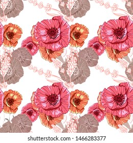 Flourish poppies pattern in line art style. Poppy flower line art. Botanical seamless vector texture. Colorful background blossoming bloomy vector. Wildflowers handcrafted artsy poppy surface design