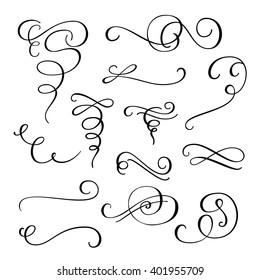 Flourish Swirl Ornate Decoration For Pointed Pen Ink Calligraphy Style Quill Flourishes
