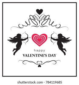 Flourish Valentine's day card with cupids. Valentine's day logo, symbol, sign, icon.