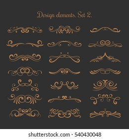 Flourish vector embellishments. Flourishes filigree calligraphic elegant swirls elements. Vintage delicate elements for tattoo illustration