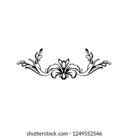 Flourish vector text divider. Floral vintage calligraphic embellishment. Isolated black ornate design element. Decorative scrollwork clipart. Invitation, greeting card, poster filigree decoration