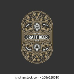 Flourishes beer label design template with hops in linear style. Vector illustration.