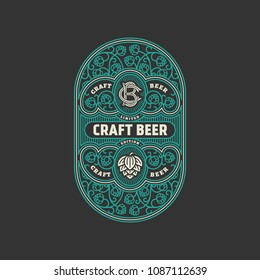 Flourishes beer label design template with hops. Vector illustration.
